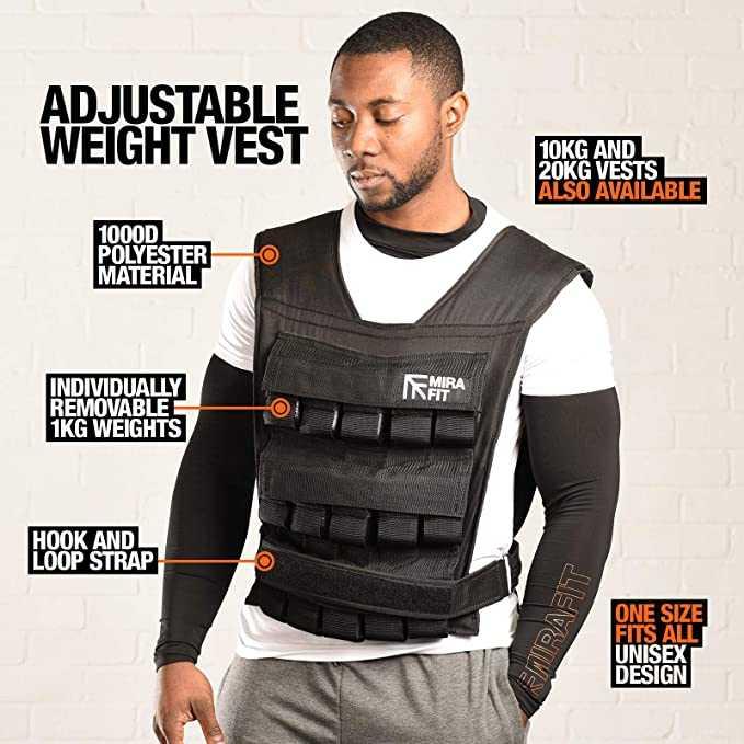 Mirafit Adjustable Weighted Vest 10kg 20kg 30kg