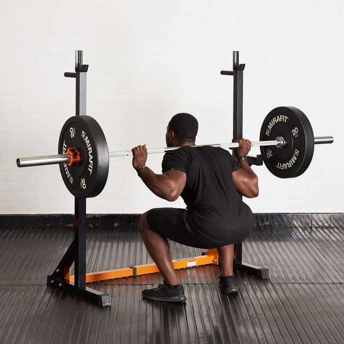 Mirafit M1 Adjustable Squat Rack With Spotters In Stock UK