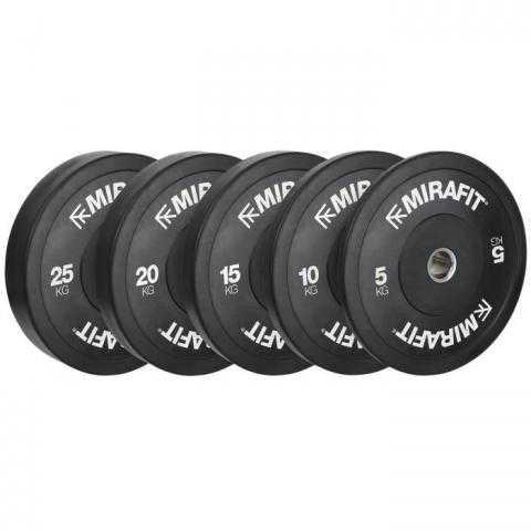 Mirafit Black Olympic Rubber Bumper Plates